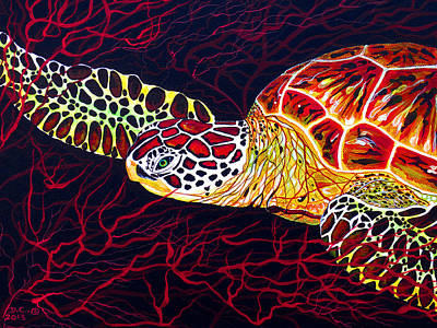 Turtle Painting -  Hawksbill Turtle by Debbie Chamberlin