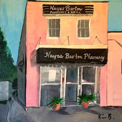Pharmacy Painting - Hayes Barton Pharmacy by Kimberly Balentine