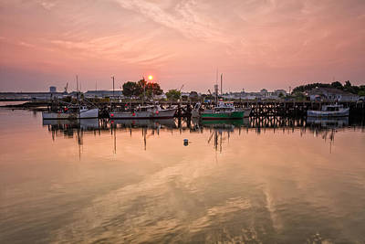 Hazy Sunrise Over The Commercial Pier Portsmouth Nh Art Print by Jeff Sinon