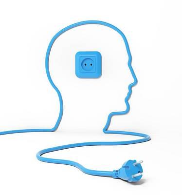 Human Head Photograph - Head Made Form Power Cable by Andrzej Wojcicki