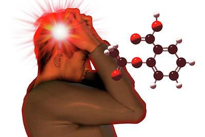 Headache And Aspirin Molecule Art Print