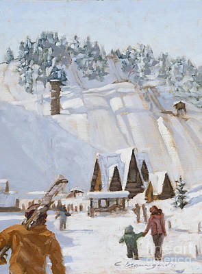 Colorado Ski Painting - Heading To The Hill by Chula Beauregard
