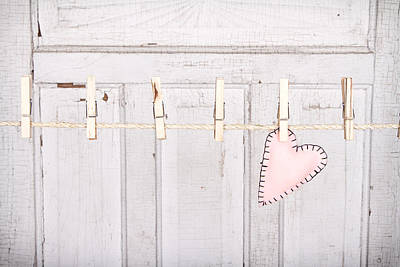 Stiched Photograph - Heart On A Clothes Line by Jennifer Huls