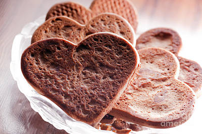 Nobody Photograph - Heart Shaped Gingerbread Cookies by Michal Bednarek