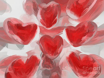 Hearts Afire Abstract  Art Print