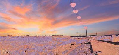 Hearts Sunset Art Print