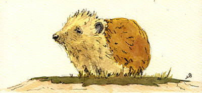 Nature Art Painting - Hedgehog by Juan  Bosco
