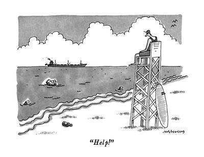 Pollution Drawing - Help! by Mick Stevens