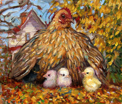 Painting - Hen And Chicks by Paul Emory