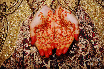 Monets Water Lilies Rights Managed Images - Henna On Hands Of Indonesian Wedding Bride Royalty-Free Image by Antoni Halim