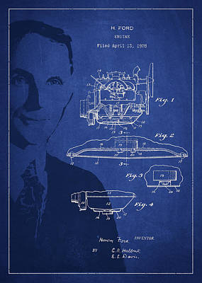 Henry Ford Engine Patent Drawing From 1928 Art Print