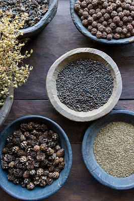 Herbs And Spices In Bowls Print by Dutourdumonde Photography