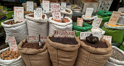 Herbs For Sale At A Market Stall Art Print