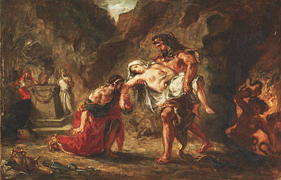 Hercules And Alcestis Painting - Hercules And Alcestis by Eugene Delacroix