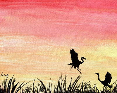 Painting - Herons At Sunset by Prashant Shah