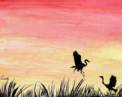 Herons At Sunset Art Print by Prashant Shah