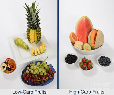Cantaloupe Photograph - High- And Low-carbohydrate Fruits by Photo Researchers, Inc.