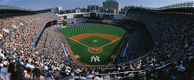 Yankee Stadium Photograph - High Angle View Of A Baseball Stadium by Panoramic Images