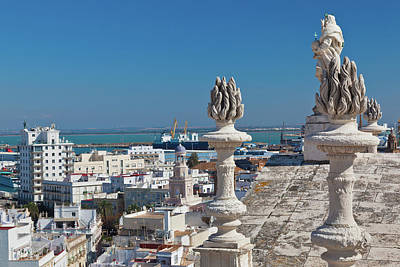 High Angle View Of A City, Cadiz Art Print