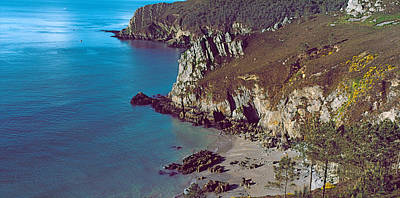 Scenic View In France Photograph - High Angle View Of A Coast, Crozon by Panoramic Images