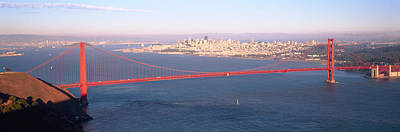 High Angle View Of A Suspension Bridge Art Print