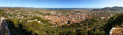 Cote Dazur Photograph - High Angle View Of A Town by Panoramic Images