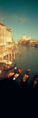 Domes Of Venice Photograph - High Angle View Of Gondolas In A Canal by Panoramic Images