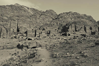 Petra Photograph - High Angle View Of Royal Tombs by Panoramic Images