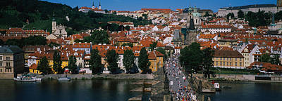 Vltava Photograph - High Angle View Of Tourists by Panoramic Images