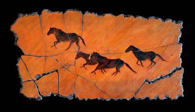 Fresco Painting - High Desert Horses by Steve Bogdanoff