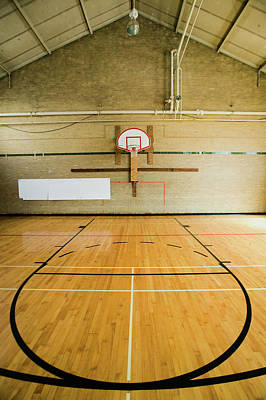 Basketball Photograph - High School Basketball Court And Head by Panoramic Images