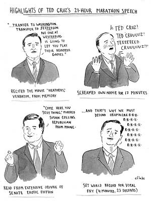 Speeches Drawing - Highlights Of Ted Cruz's 21 Hour Marathon Speech by Emily Flake
