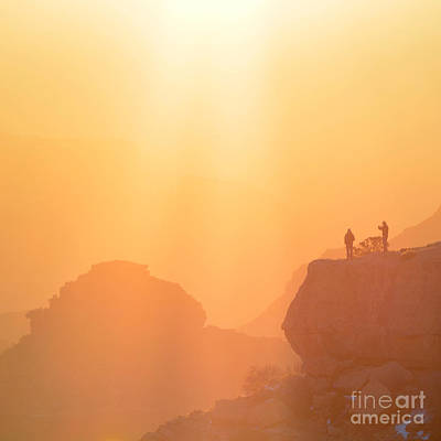 Western Themed Photograph - Hikers Bathed In Sunrise Sunrays In Grand Canyon National Park Square by Shawn O'Brien