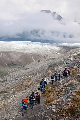 Human Landscape Photograph - Hiking Trip To A Glacier by Jim West