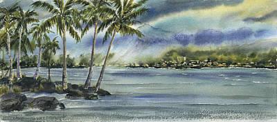 City Scape Painting - Hilo Rain  by Michael Donenfeld