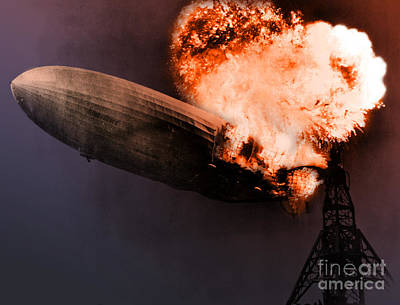 Photograph - Hindenburg Disaster May 6th 1937 by Photo Researchers