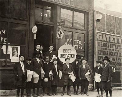 Black Commerce Photograph - Hine Newsboys, 1910 by Granger