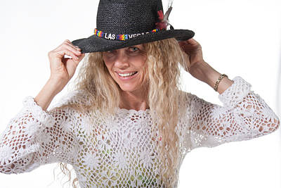Photograph - Hippie Female With Las Vegas Hat by Gunter Nezhoda