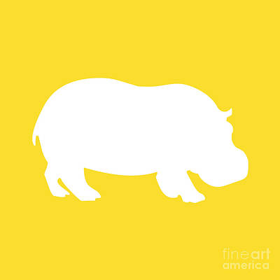 Digital Art - Hippo In Golden And White by Jackie Farnsworth