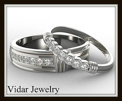 Jewelry - His And Hers Matching Diamond 14kt White Gold Wedding Band Set by Roi Avidar