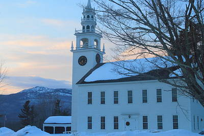Game Of Chess - Historic Jaffrey Meetinghouse and Mount Monadnock by John Burk