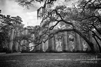 Historic Sheldon Church 4 Bw Art Print by Carrie Cranwill