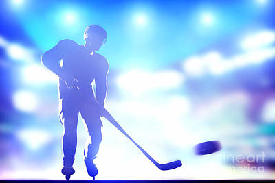 Hockey Games Photograph - Hockey Player Shooting On Goal by Michal Bednarek