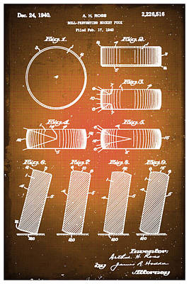 Puck Drawing - Hockey Puck Patent Blueprint Drawing Sepia by Tony Rubino