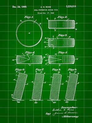 Hockey Puck Patent 1940 - Green Art Print