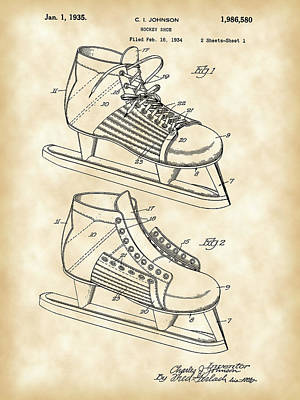 Hockey Shoe Patent 1934 - Vintage Print by Stephen Younts