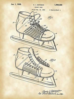 Hockey Shoe Patent 1934 - Vintage Art Print
