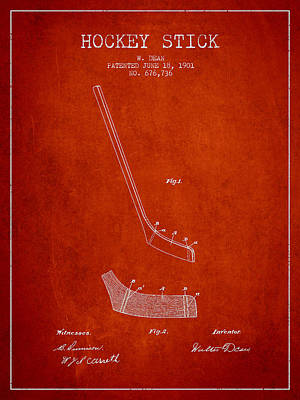 Hockey Games Digital Art - Hockey Stick Patent Drawing From 1901 by Aged Pixel