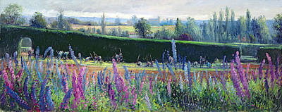 Hoeing Against The Hedge Art Print by Timothy Easton