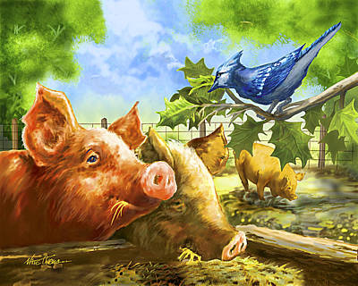 Pig Mixed Media - Hog Heaven by Nate Owens